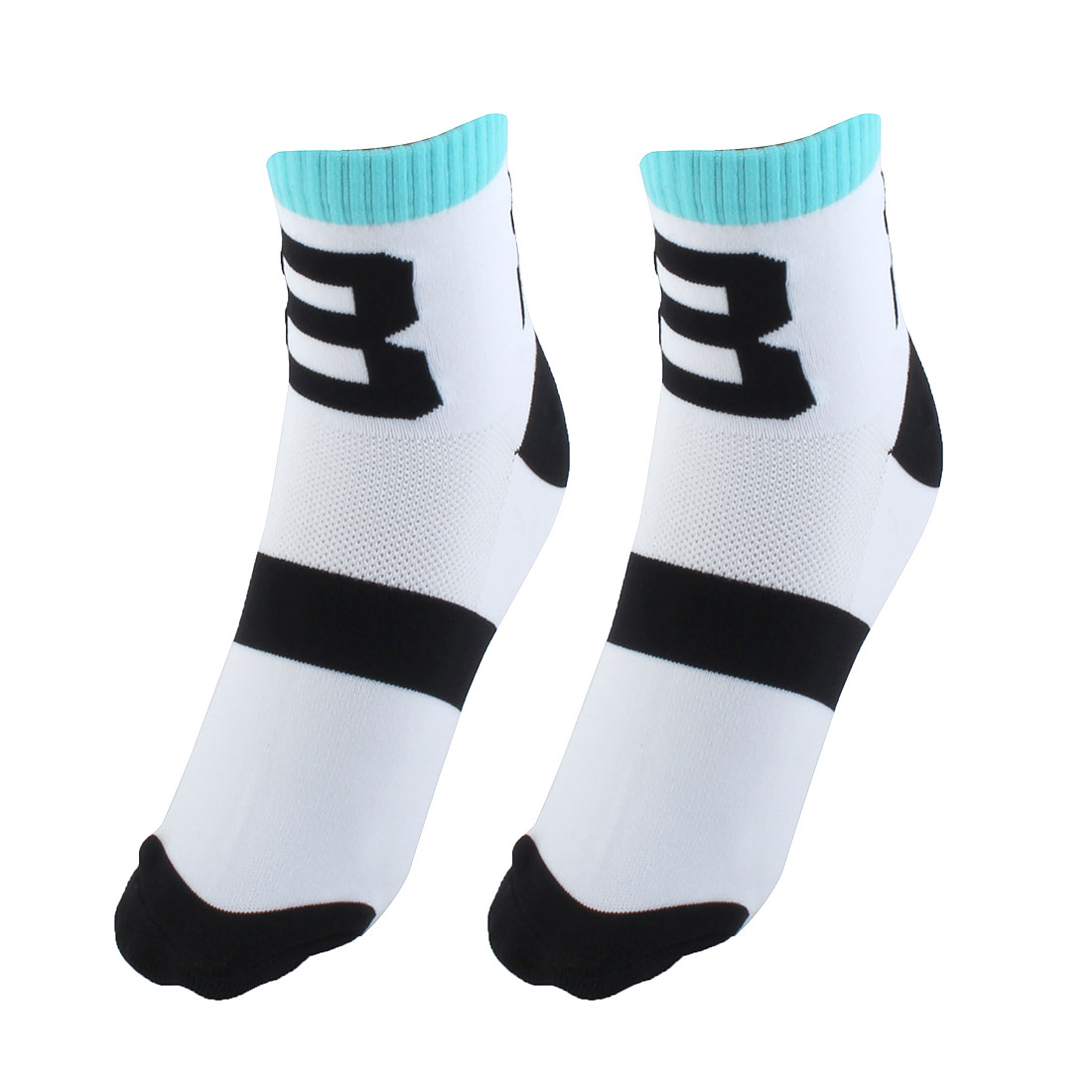 R-BAO Authorized Bicycle Football Mountain Bike Cotton Blend Compression Sports Cycling Socks White 2 Pairs