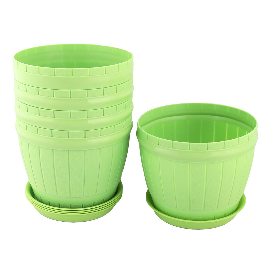 Home Parterre Plastic Round Aloes Plant Flower Seed Pot Holder Container Green 5pcs