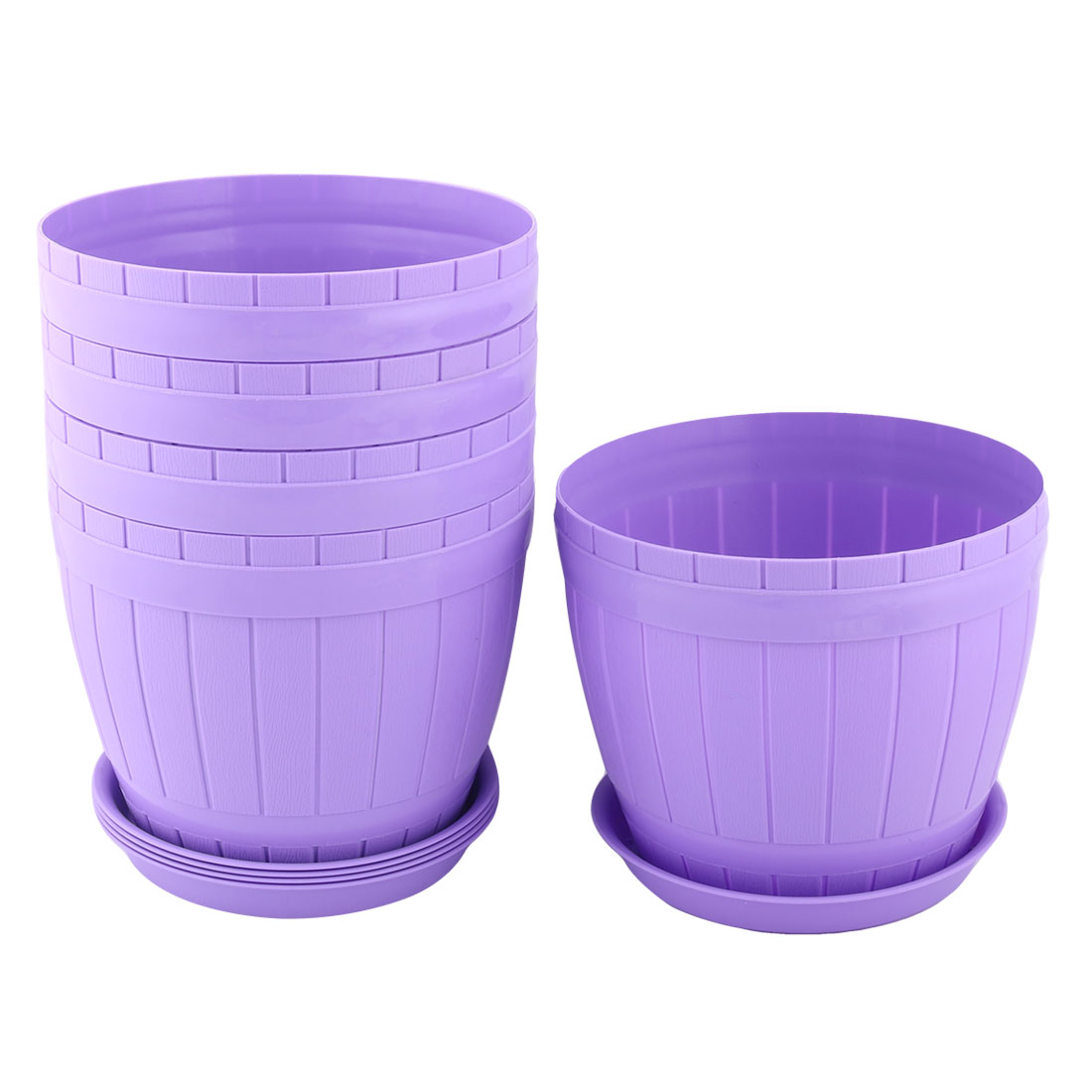Home Parterre Plastic Round Aloes Plant Flower Seed Pot Holder Container Purple 5pcs