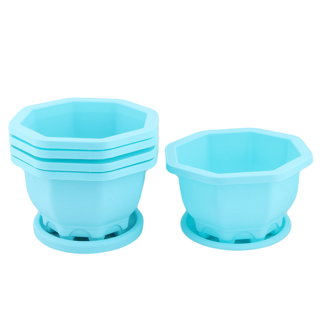 Outdoor Yard Plastic Round Flower Succulent Plant Pot Holder Tray Container Blue 5pcs