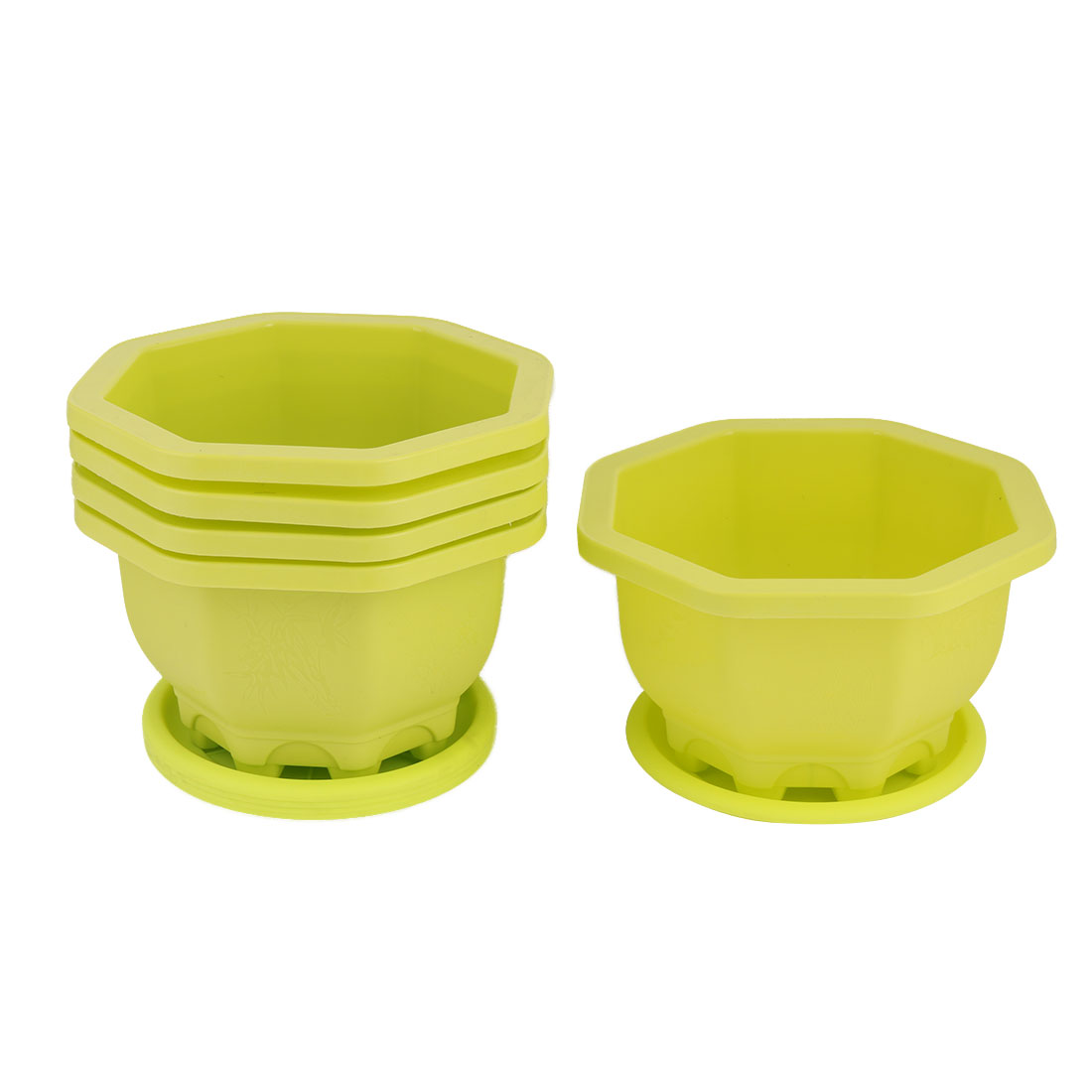 Outdoor Yard Plastic Round Flower Succulent Plant Pot Holder Tray Container Green 5pcs