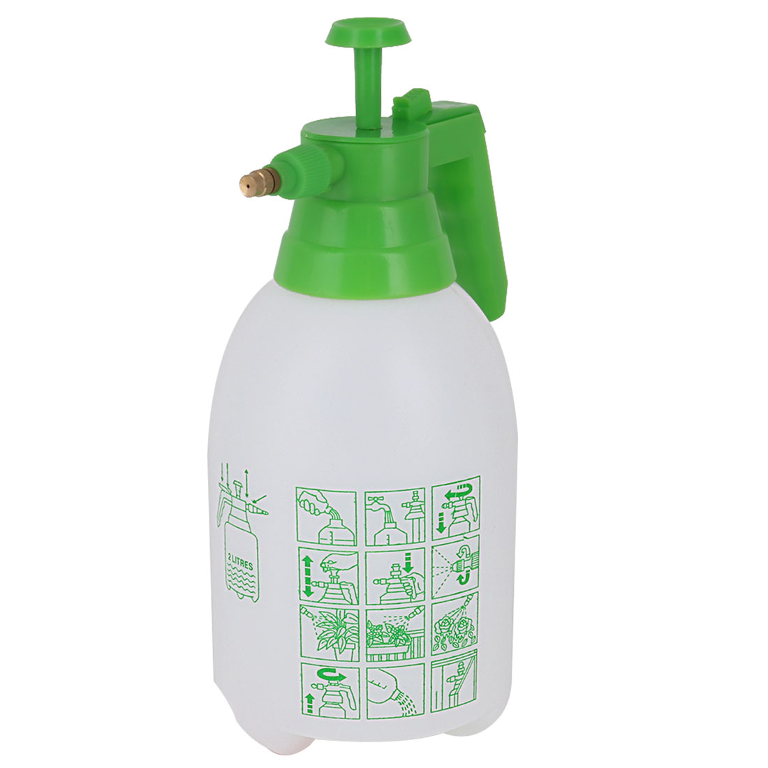 Garden Yard Plastic Plant Vegetable Flower Watering Trigger Spray Bottle Green White 2L