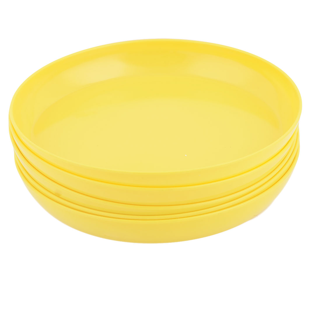 Home Windowsill Melamine Round Plant Flower Pot Holder Tray Container Yellow 5 Pcs
