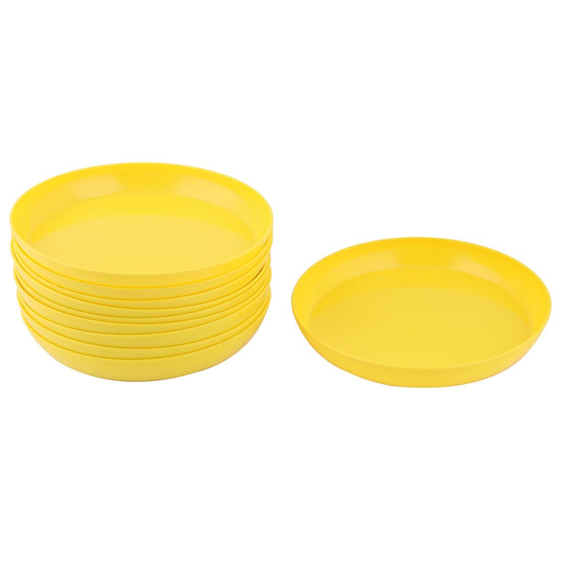 Household Yard Garden Melamine Round Flower Pot Holder Tray Yellow 8.6 Inch Dia 10 Pcs