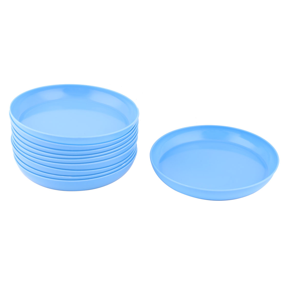 Household Yard Garden Melamine Round Flower Pot Holder Tray Blue 8.6 Inch Dia 10 Pcs