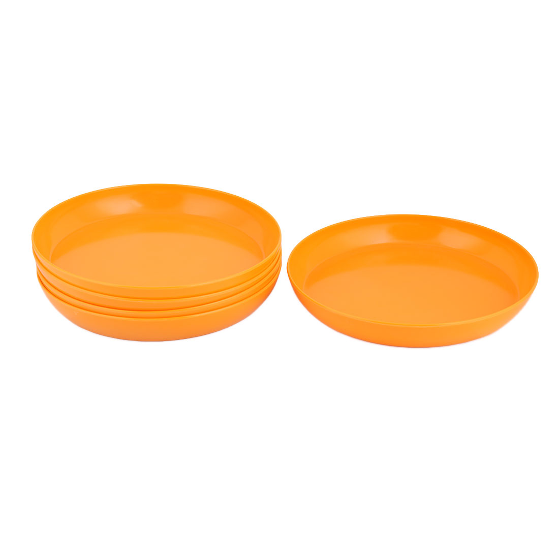 Outdoor Yard Garden Melamine Round Flower Pot Holder Tray Orange 10.2 Inch Dia 5pcs