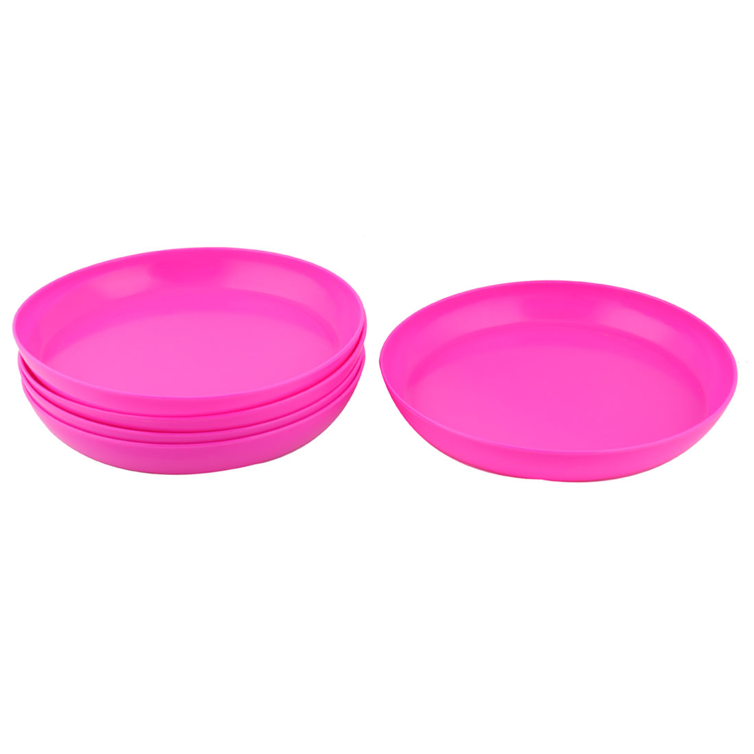 Outdoor Yard Garden Melamine Round Flower Pot Holder Tray Fuchsia 10.2 Inch Dia 5pcs