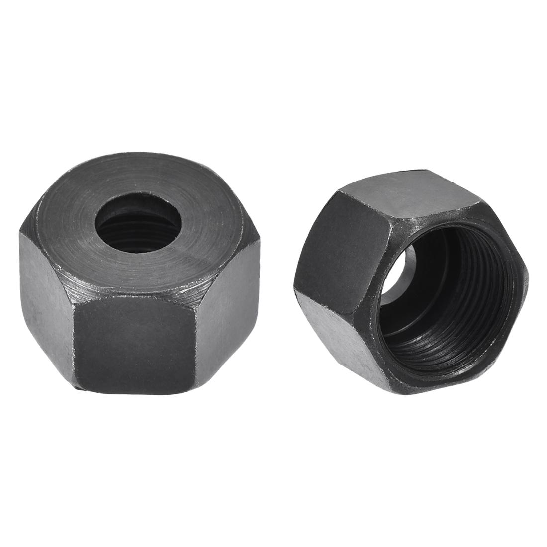 13mm Female Thread Dia Hex Type Trimmer Replacement Parts Lock Nut Black 3pcs