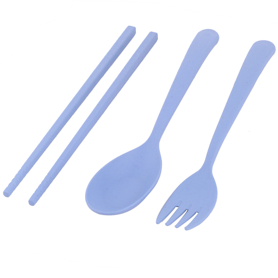 Home Outdoor Plastic Dinner Spoon Chopsticks Fork Holder Box Tableware Blue Set