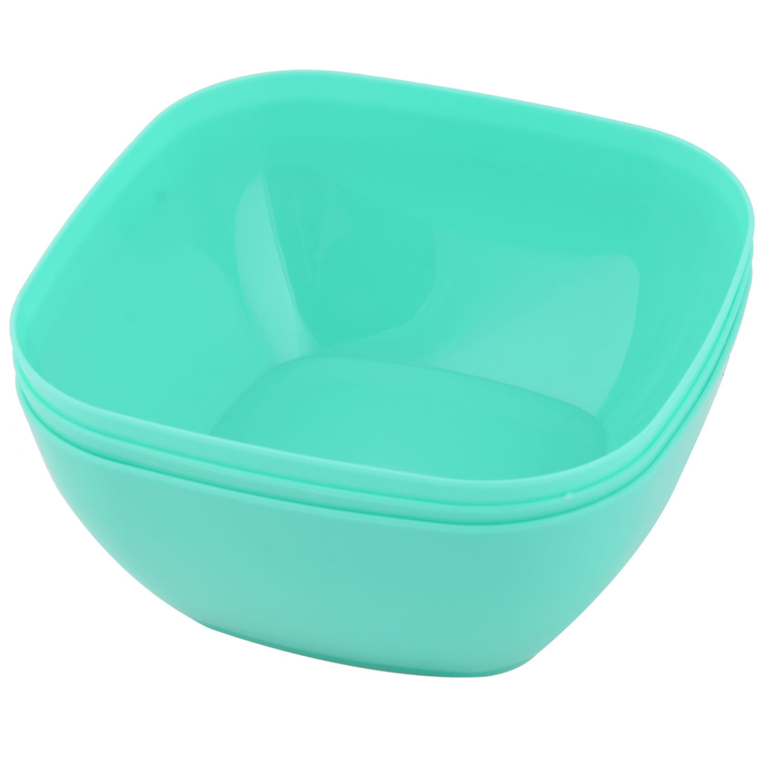Home Refrigerator Plastic Square Fruit Foods Container Snacks Bowl Cyan 3pcs