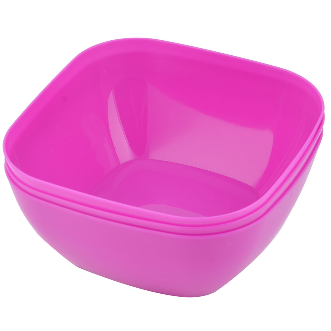 Home Refrigerator Plastic Square Fruit Foods Container Snacks Bowl Fuchsia 3pcs