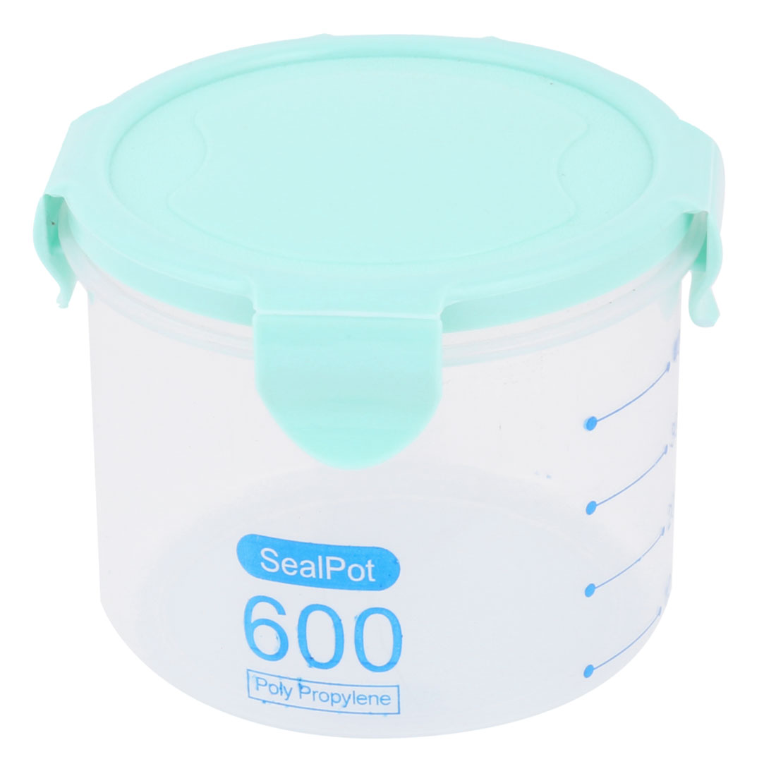 Home PP Cylinder Sealed Candy Fruit Food Storage Container Box Case Cyan 600ml