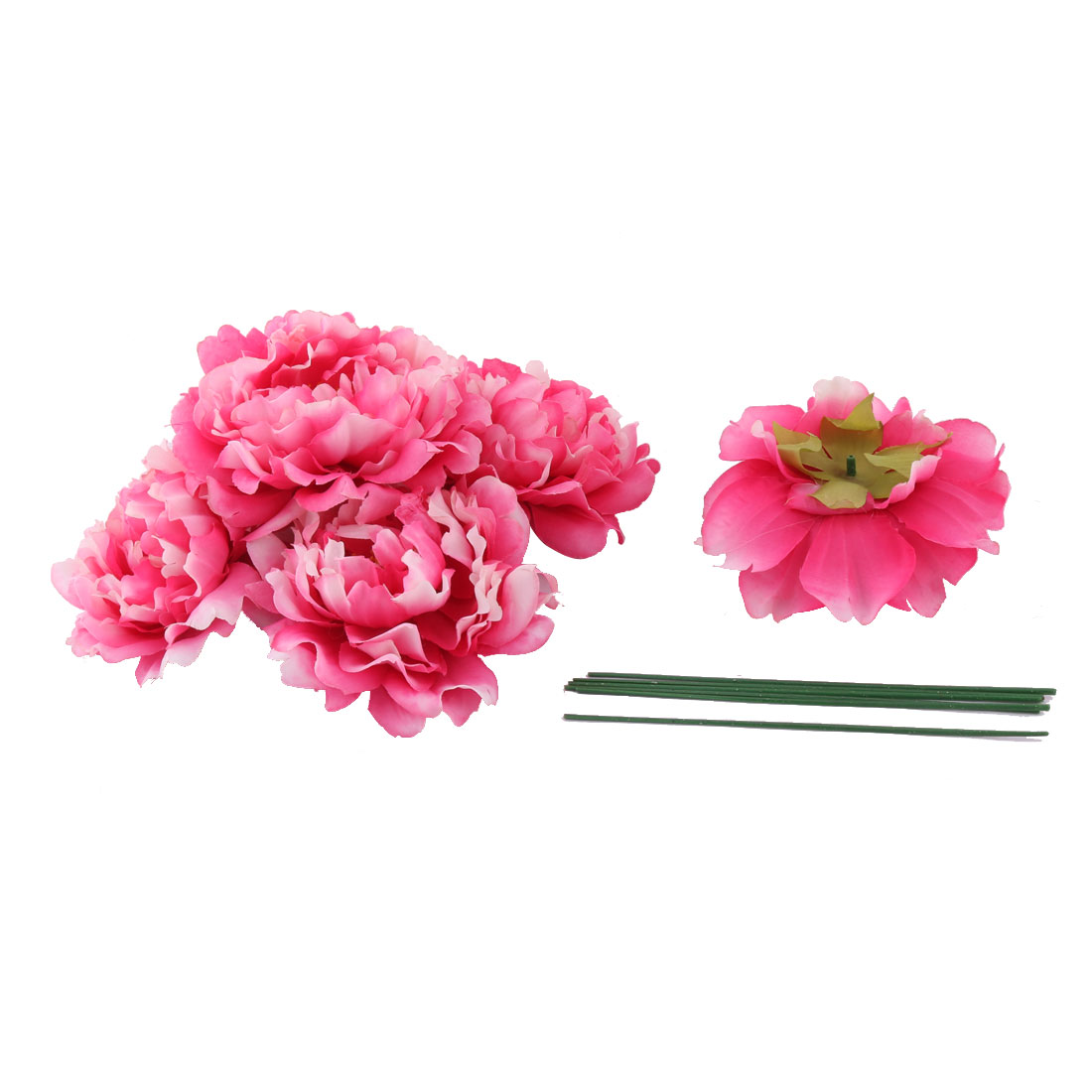 Household Party Fabric Handicraft DIY Decoration Artificial Flower Heads Fuchsia 6 Pcs