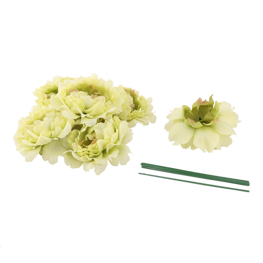 Household Party Fabric Handicraft DIY Decoration Artificial Flower Heads Green 6 Pcs
