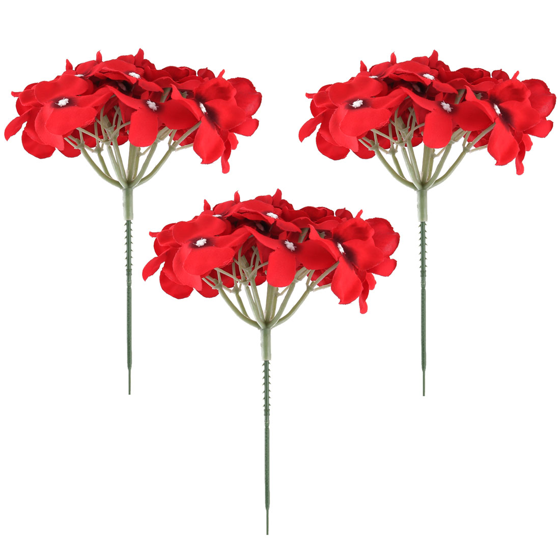 Wedding Fabric Emulation Artificial Flower Head Decorative Petals Craft Red 3pcs