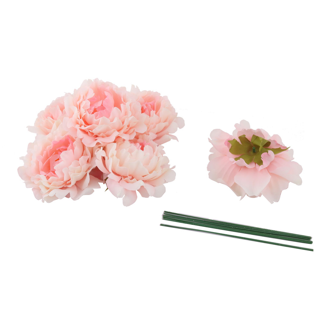 Household Party Fabric Handicraft DIY Decoration Artificial Flower Heads Pink 6 Pcs