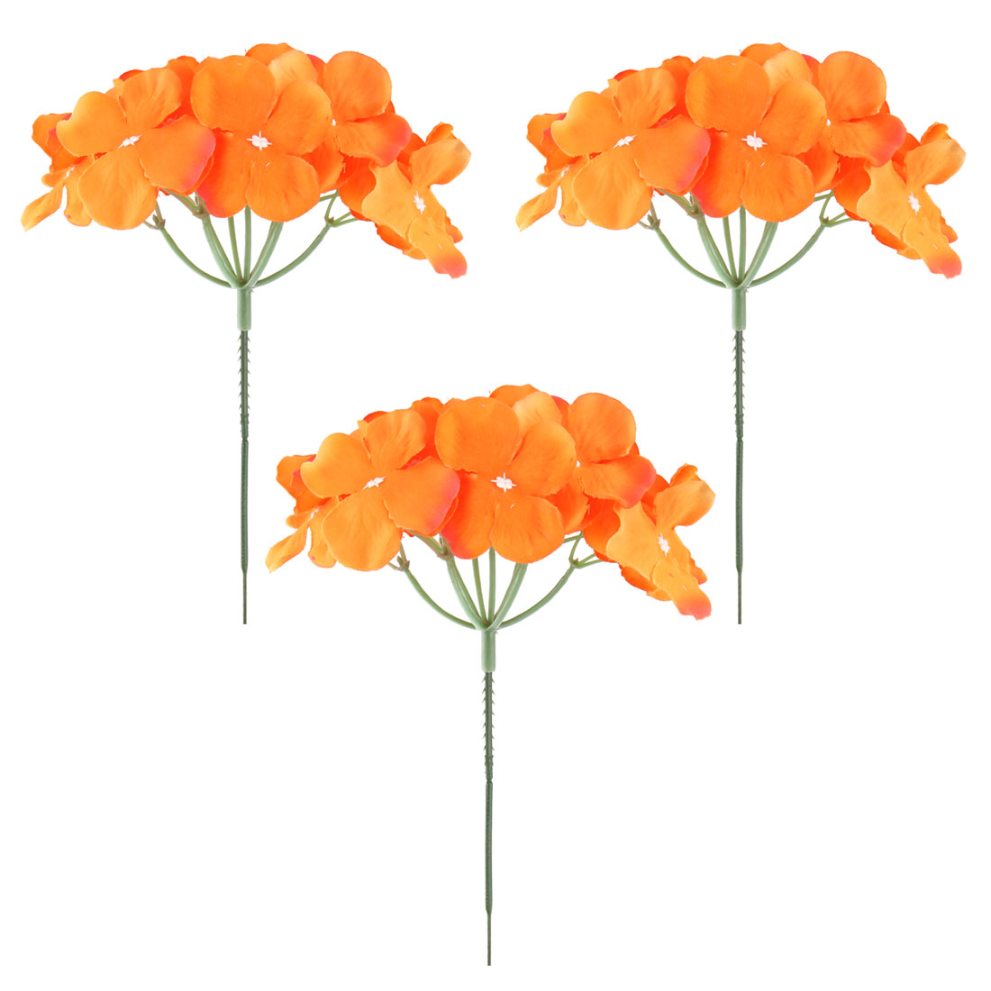 Wedding Fabric Emulation Artificial Flower Head Decorative Petals Craft Orange 3pcs