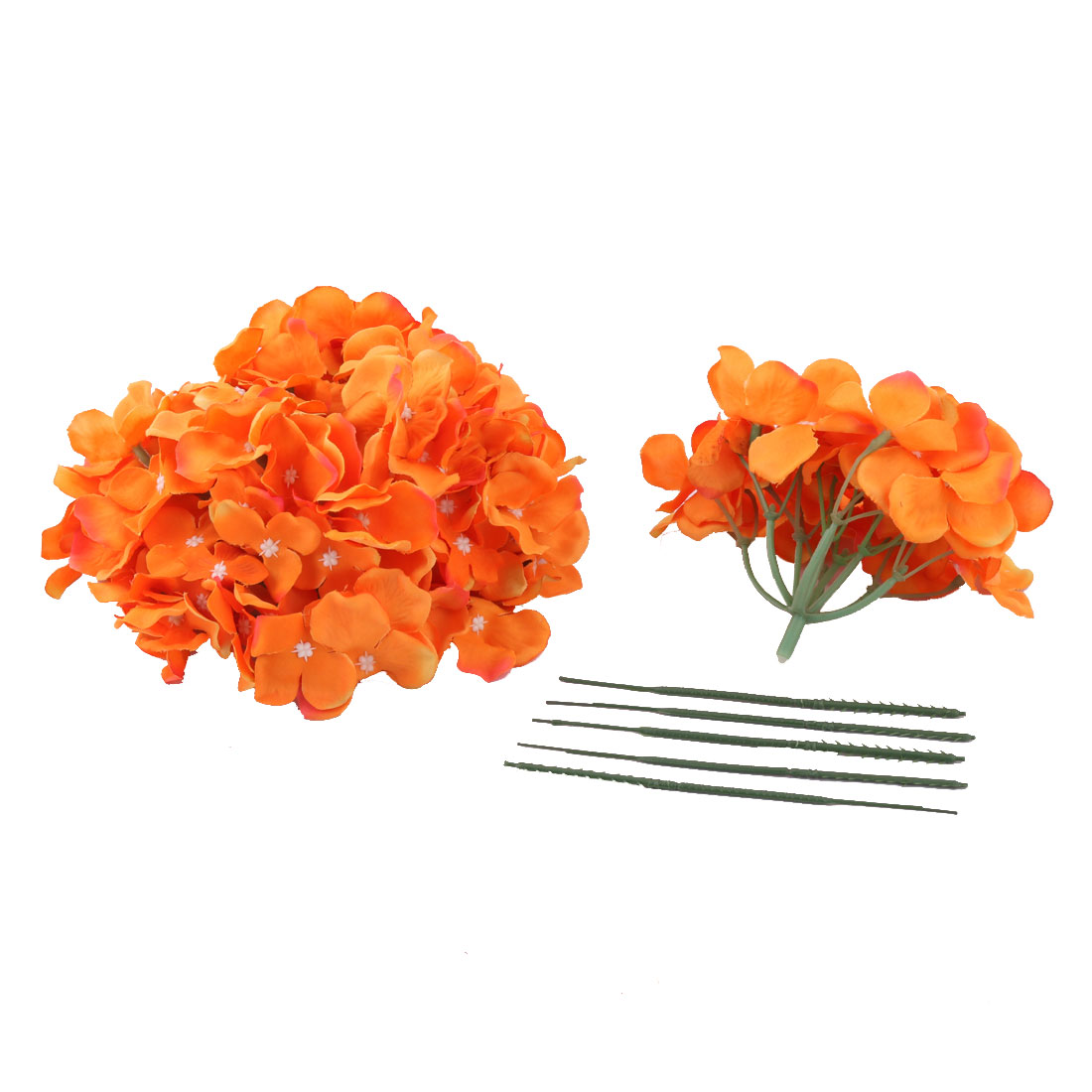 Festival Celebration Aritificial Flower Handcraft Garland Bouquet Decor Orange 5pcs