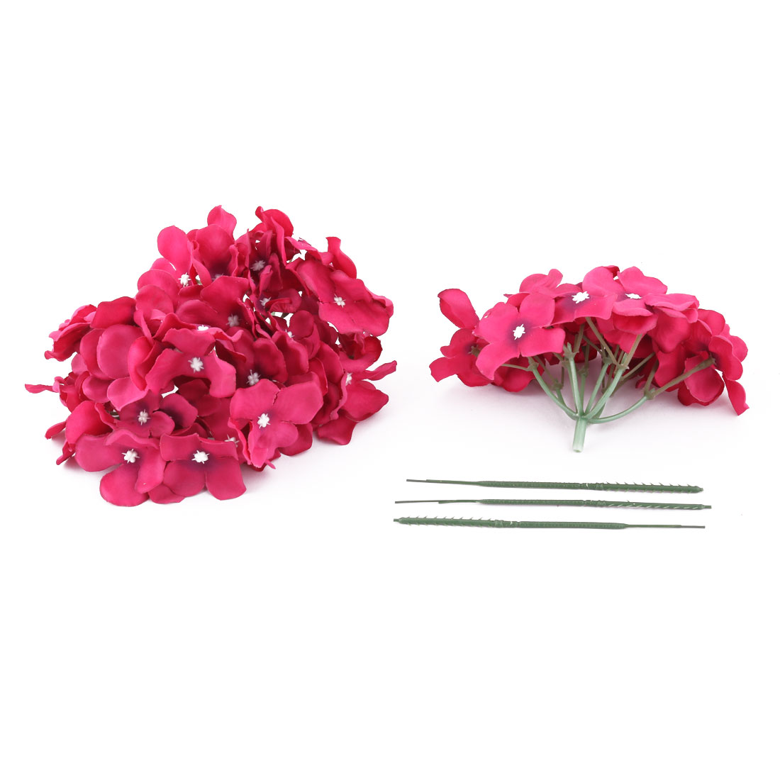 Wedding Fabric Emulation Artificial Flower Head Decorative Petals Craft Fuchsia 3pcs