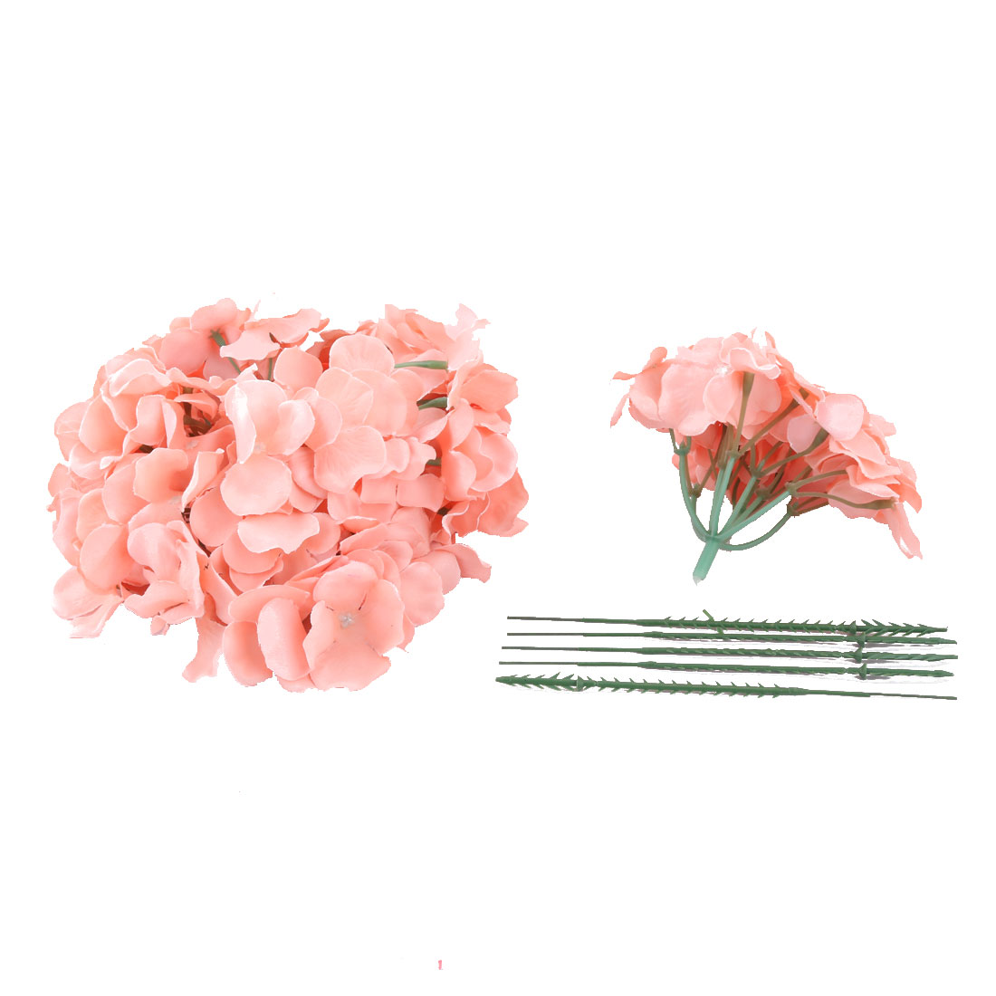 Celebration Fabric Handmade Artificial Flower Buds Petal Decorative Coral Pink 5pcs