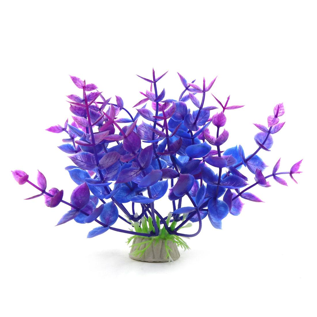 Purple Plastic Plant Aquarium Landscape Decorative Ornament w/ Ceramic Base