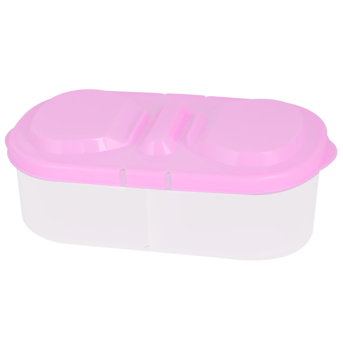 Home Kitchen Plastic 2 Compartments Food Vegetable Fruit Storage Container Box Pink