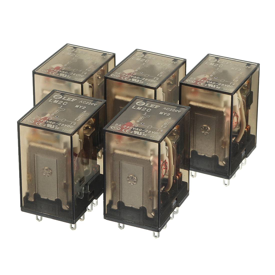 5Pcs DC28V Coil DPDT 2NO+2NC 8Pins Power Electromagnetic Relay DIN Rail Mounted