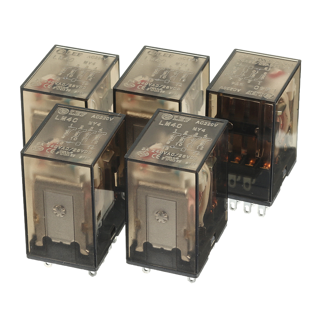 5Pcs DC 28V Coil 4PDT 4NO+4NC 14Pin Power Electromagnetic Relay DIN Rail Mounted