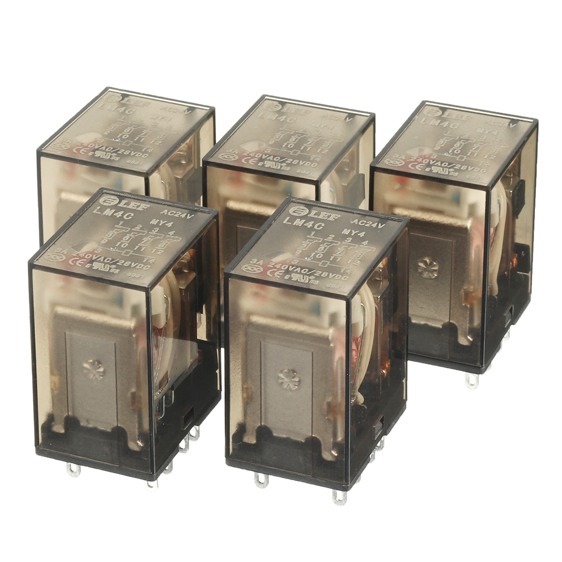 5Pcs DC28V Coil 4PDT 4NO+4NC 14Pins Power Electromagnetic Relay DIN Rail Mounted