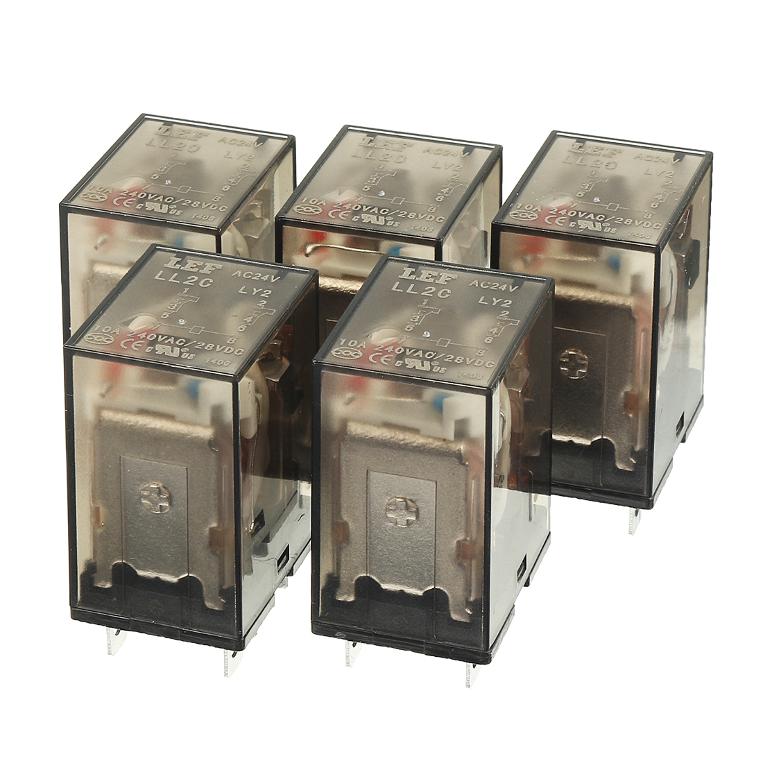 5Pcs AC 24V Coil DPDT 2NO+2NC 8Pins Power Electromagnetic Relay DIN PCB Mounted