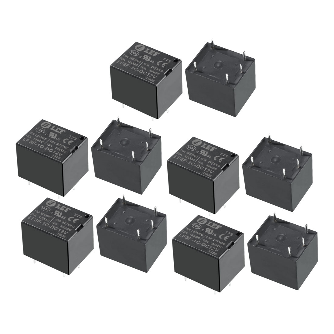 10Pcs DC 12V Coil SPDT 1NO+1NC 5P Power Electromagnetic Relay DIN PCB Mounted