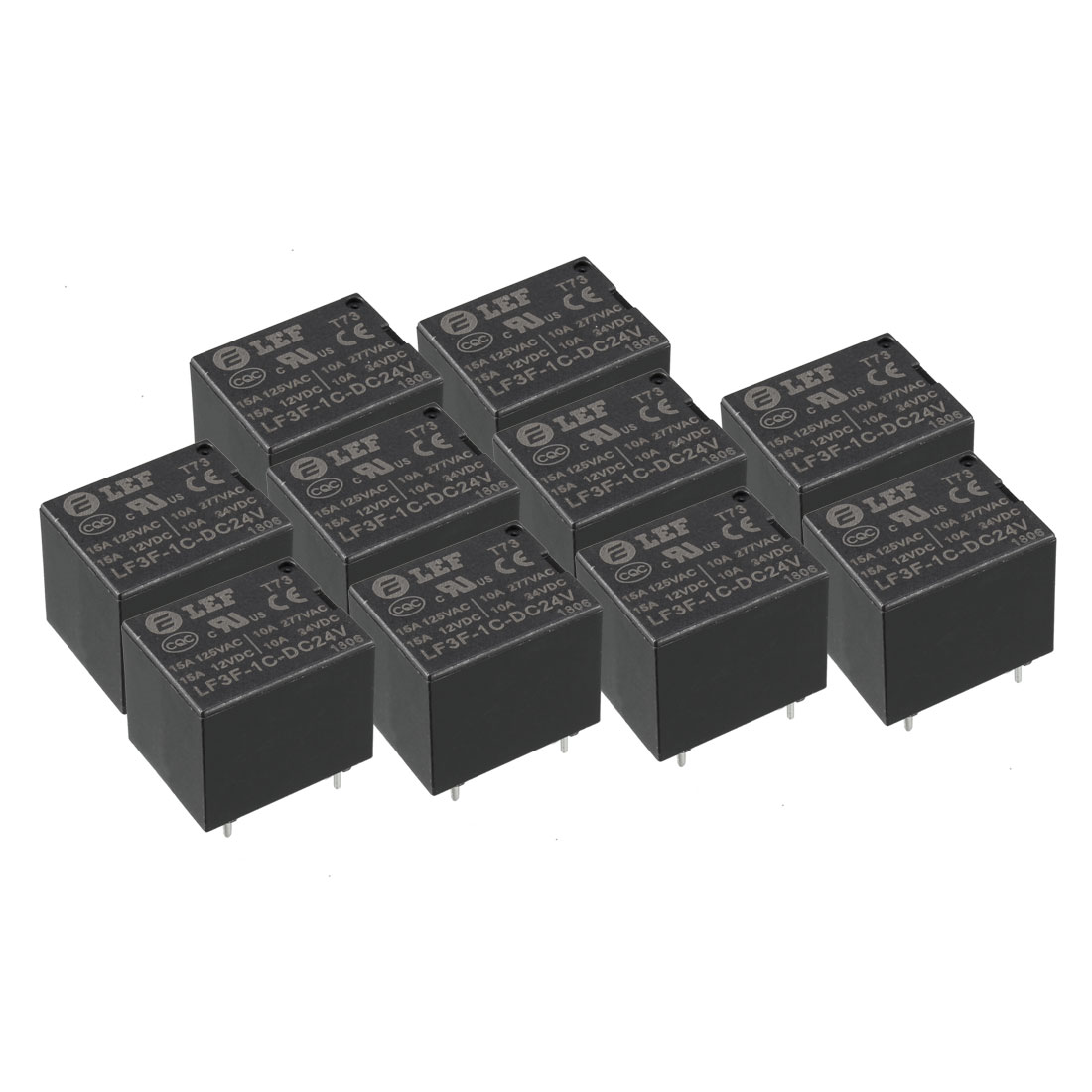 10Pcs DC 24V Coil SPDT 1NO+1NC 5P Power Electromagnetic Relay DIN PCB Mounted