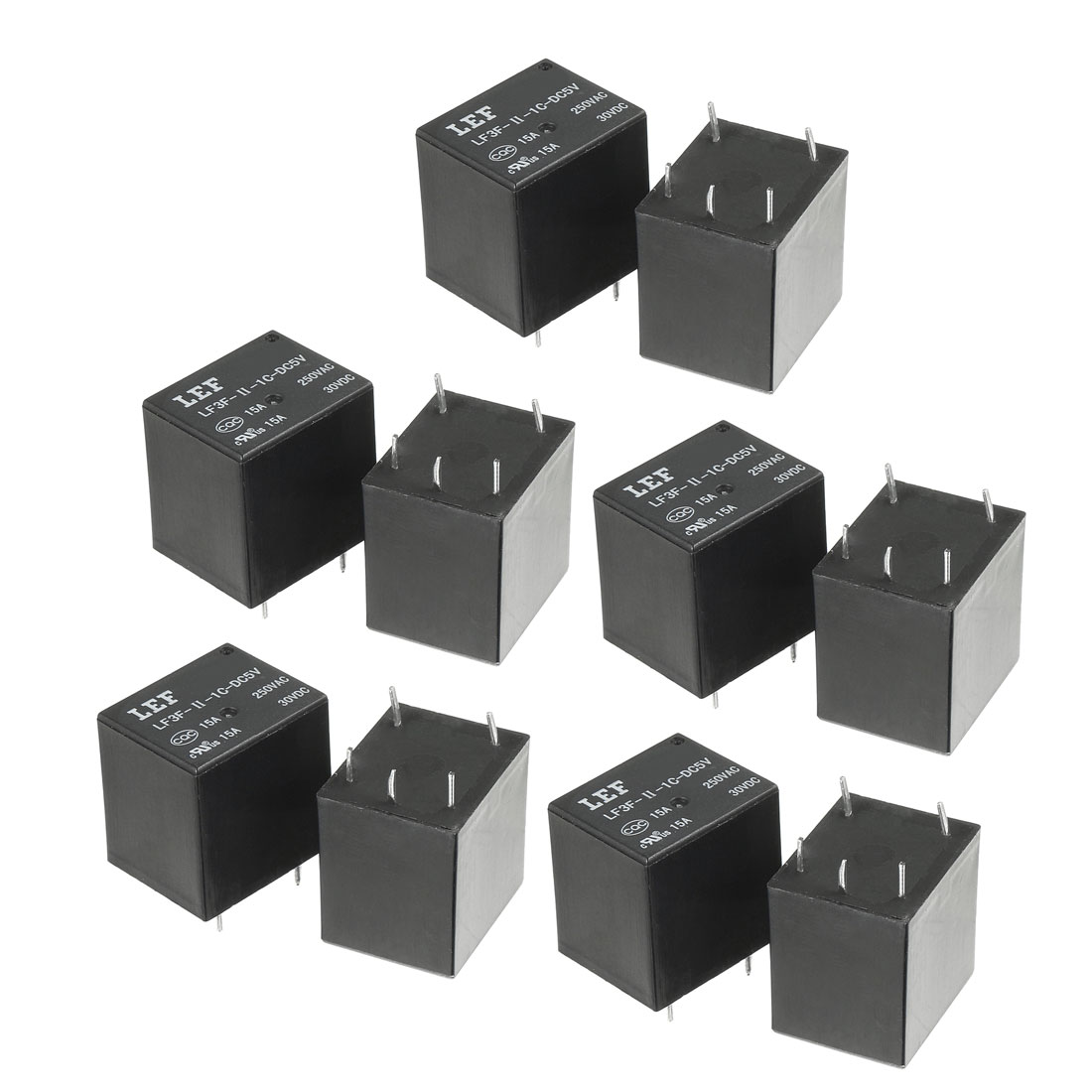 10Pcs DC 5V Coil SPDT 1NO+1NC 5P Power Electromagnetic Relay DIN Rail Mounted
