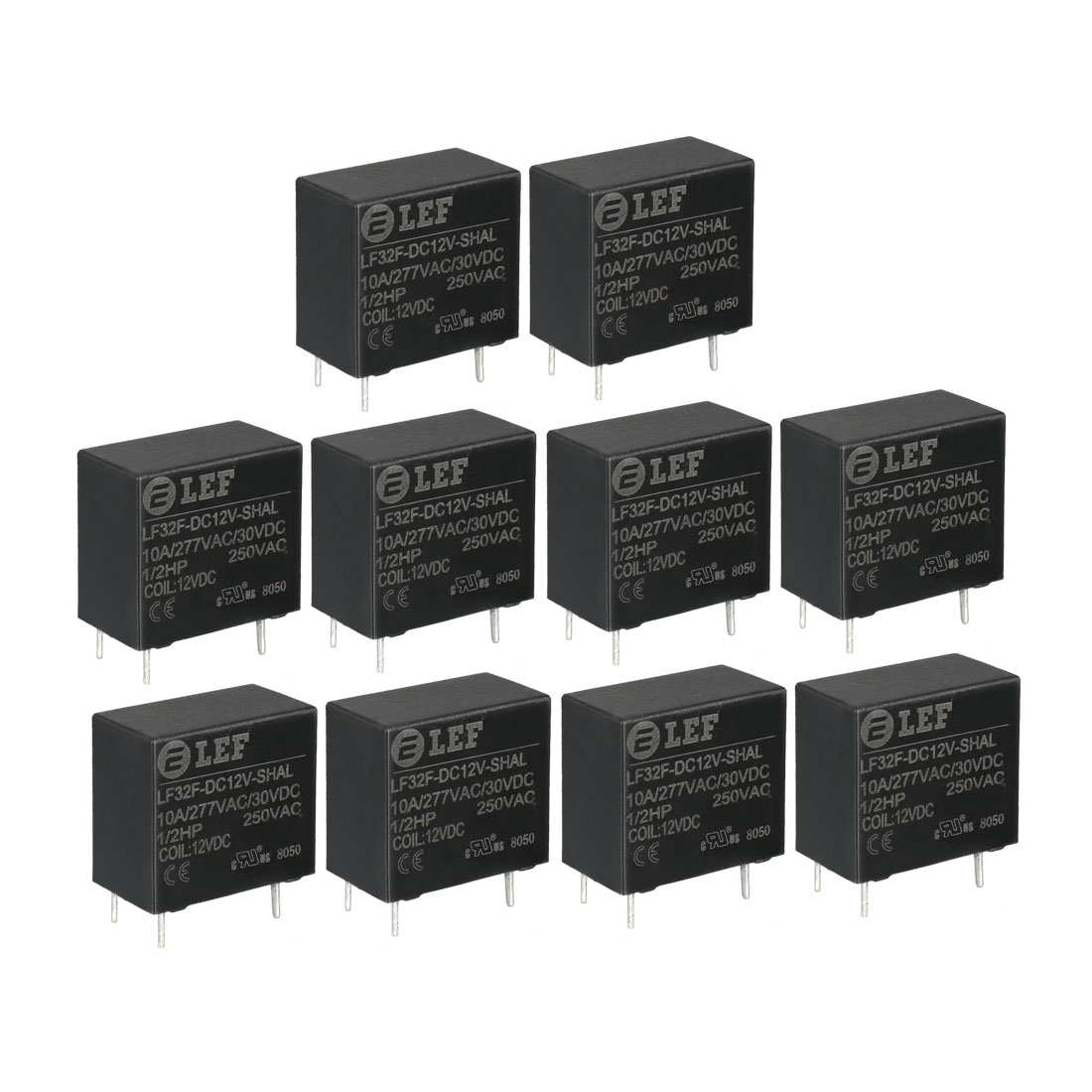 10 Pcs DC 12V Coil SPST NO 4P Power Electromagnetic Relay DIN Rail/PCB Mounted