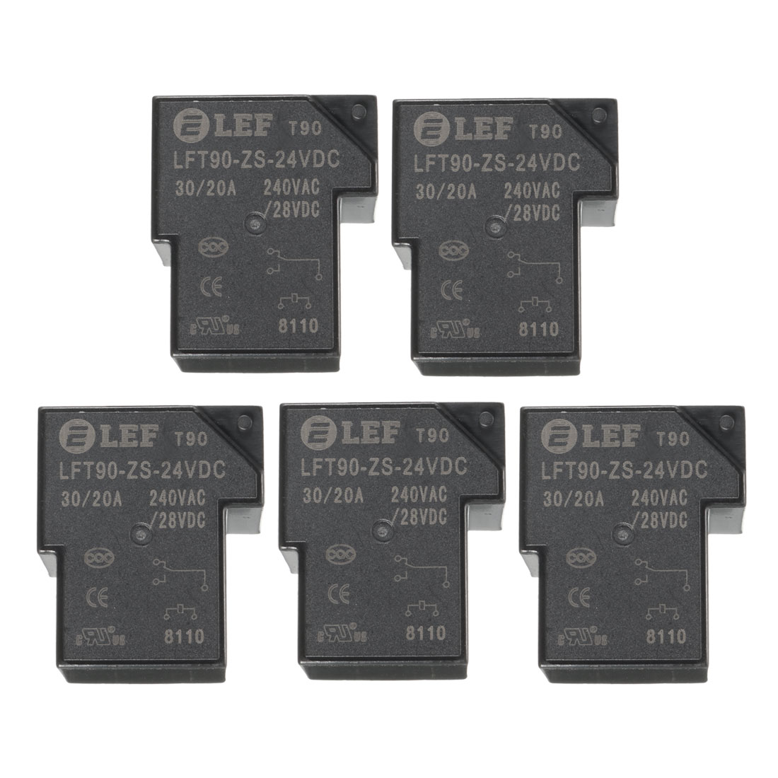5Pcs DC24V Coil SPDT 1NO+1NC 5P Power Electromagnetic Relay DIN Rail Mounted