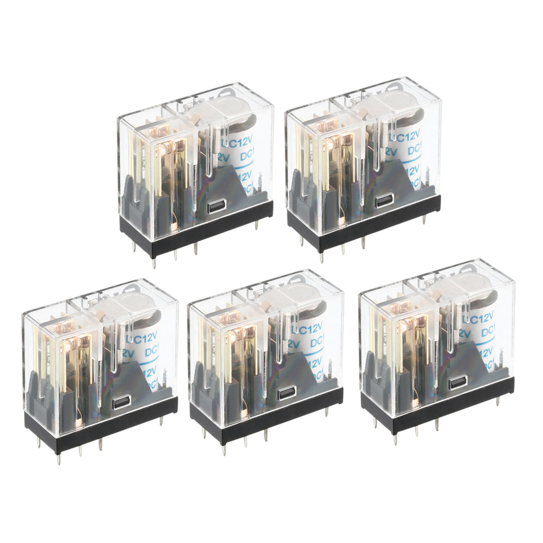 5Pcs DC 12V Coil DPDT 2NO+2NC 8Pins Power Electromagnetic Relay DIN PCB Mounted