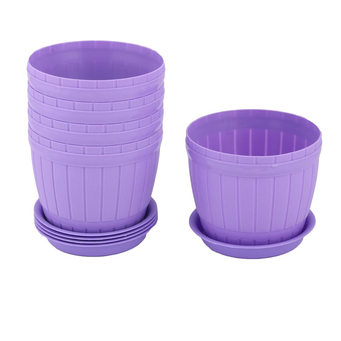 Garden Plastic Desktop Decoration Plant Flower Cactus Pot Purple 11.8cm Dia 5 Pcs
