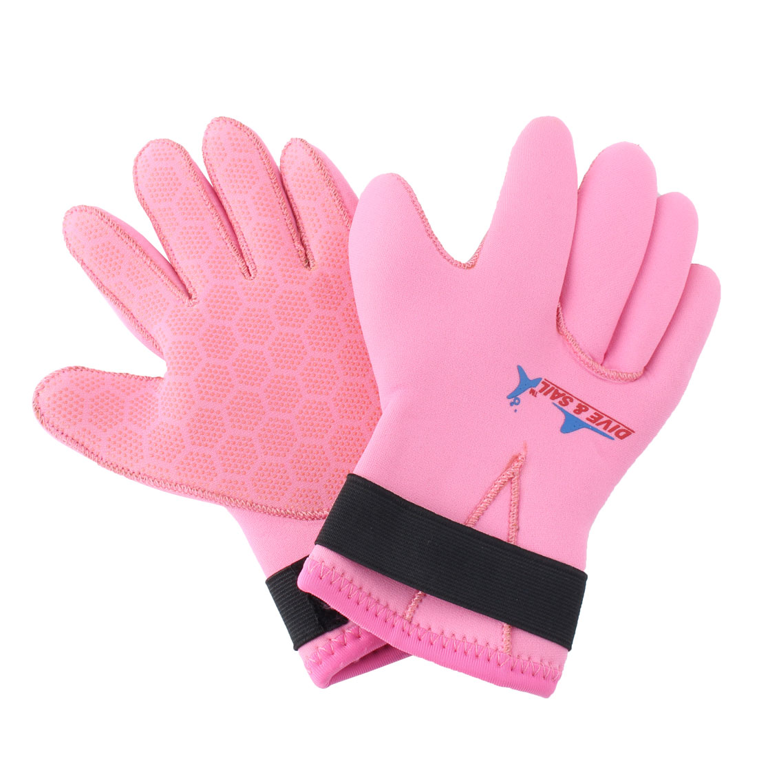 DIVE&SAIL Authorized Snorkeling Surfing Spearfishing Water Sports Warm Diving Gloves Pink Size L Pair for Child Youth
