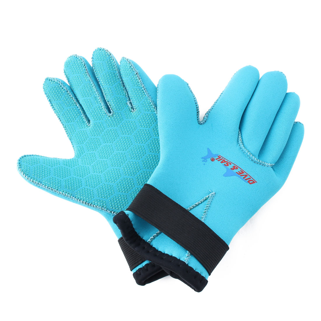 DIVE&SAIL Authorized Snorkeling Surfing Spearfishing Water Sports Warm Diving Gloves Blue Size S Pair for Child Youth