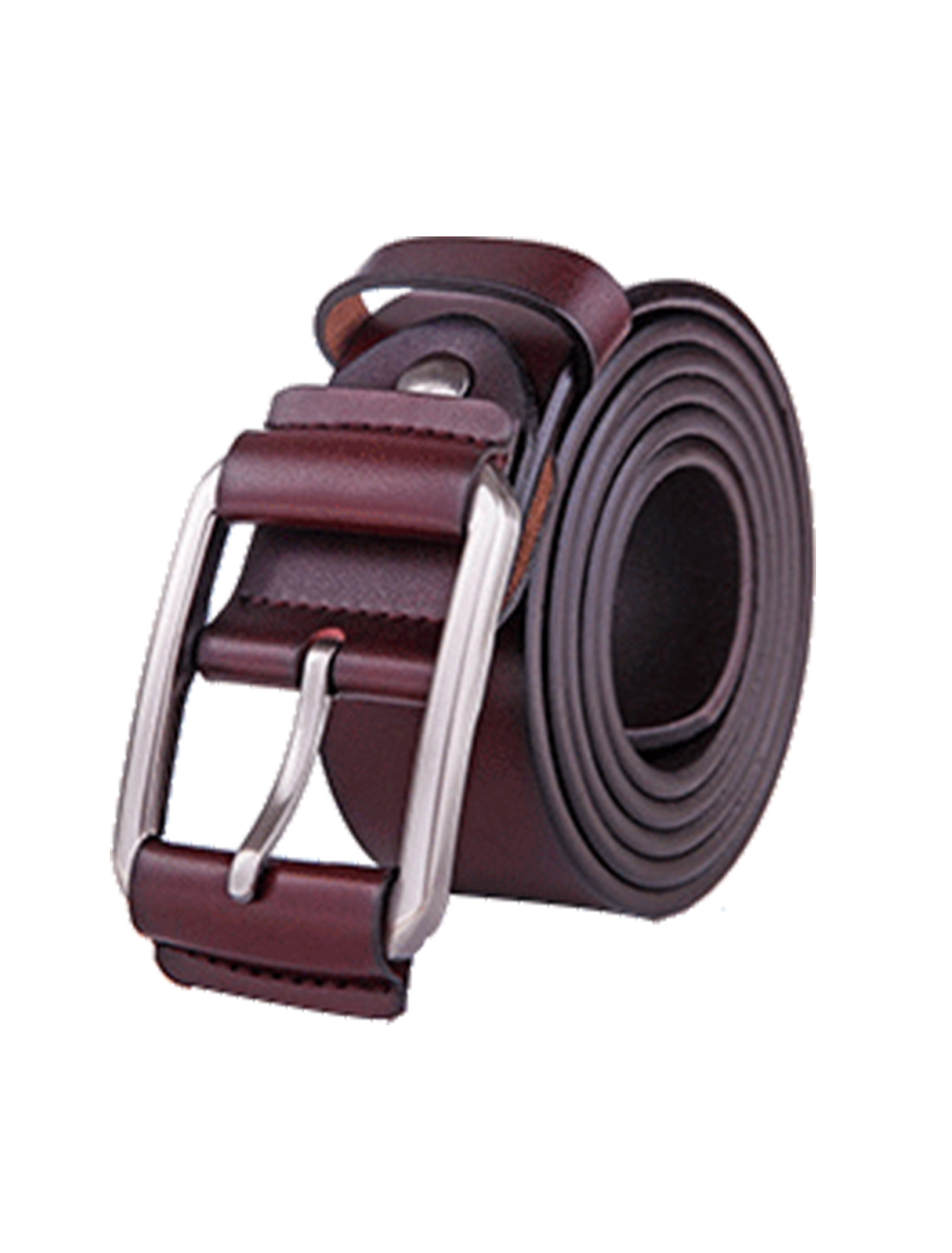 Men Solid Single Pin Buckle Dress Leather Belt 38mm Width 1 1/2 Brown 115cm