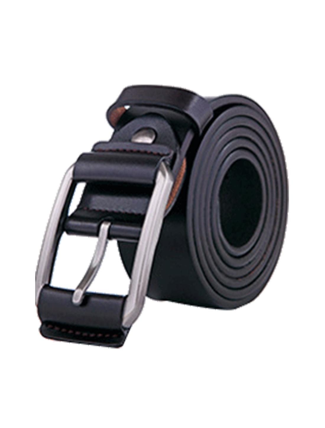 Men Vintage Solid Pin Buckle Dress Leather Belt 38mm Width 1 1/2 Black 110cm