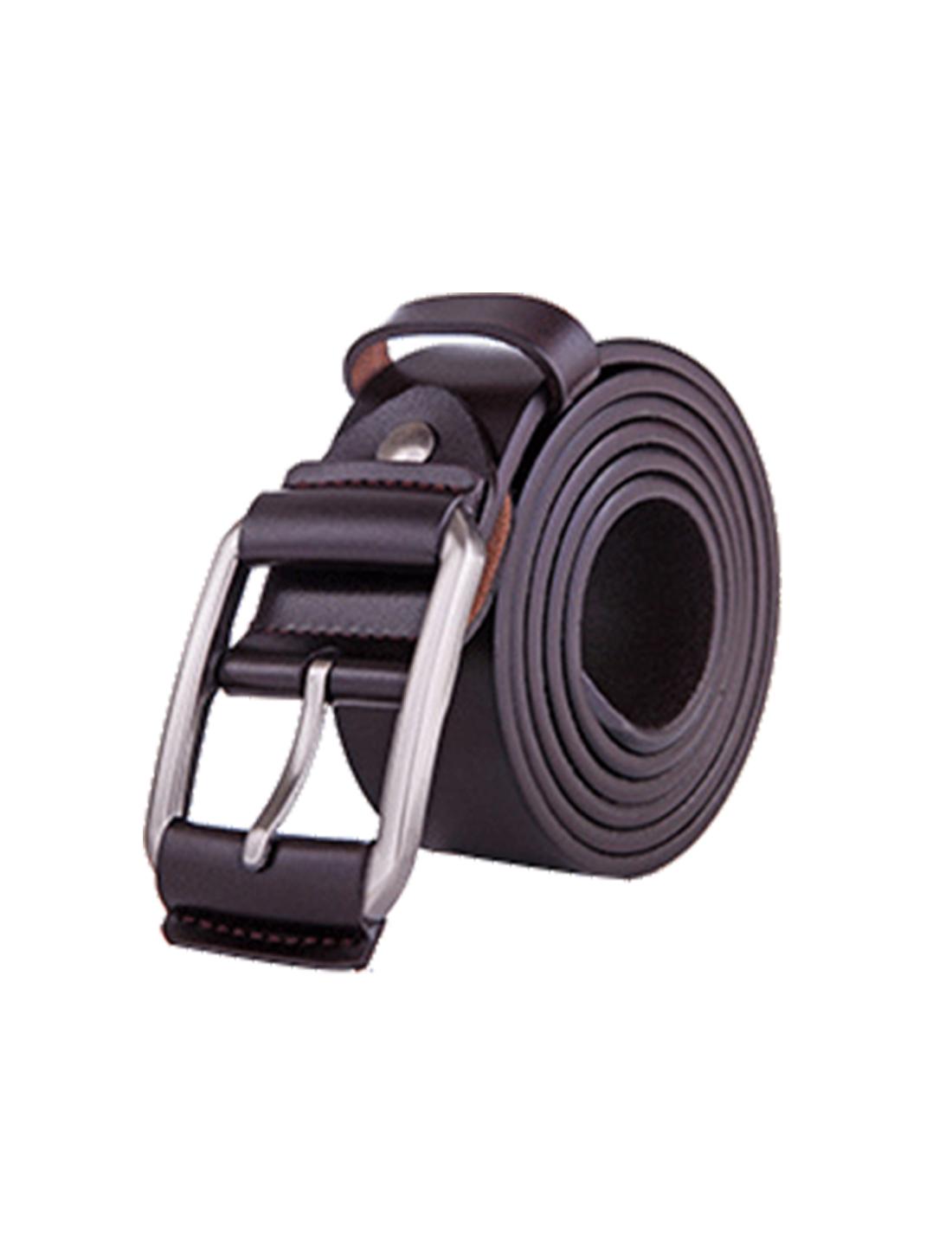 Men Single Pin Buckle Dress Leather Belt 38mm Width 1 1/2 Dark Brown 125cm