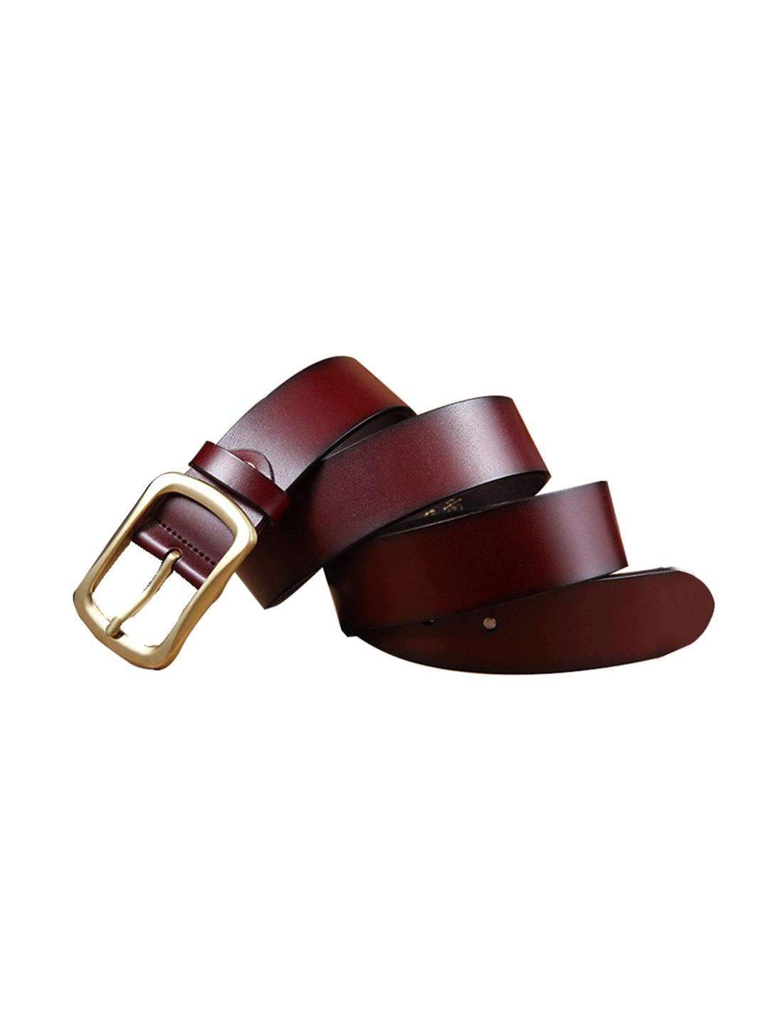 Mens Vintage Solid Pin Buckle Dress Leather Belt 38mm Width 1 1/2 Brown 110cm