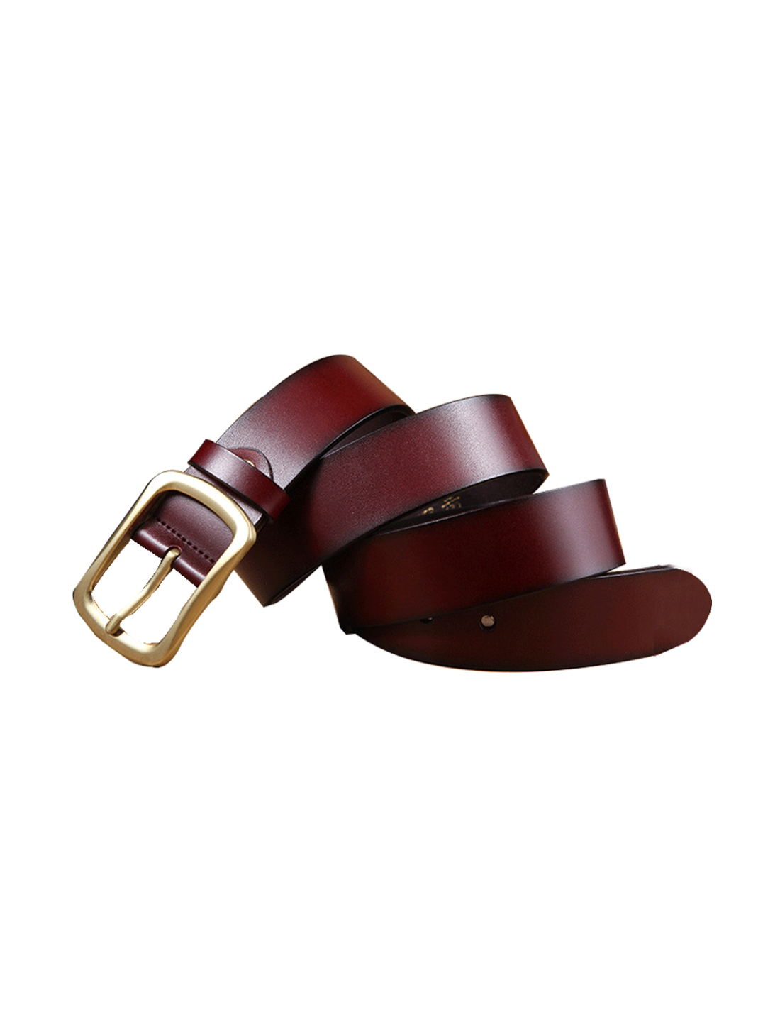 Mens Solid Pin Buckle Dress Leather Belt 38mm Width 1 1/2 Brown 120cm