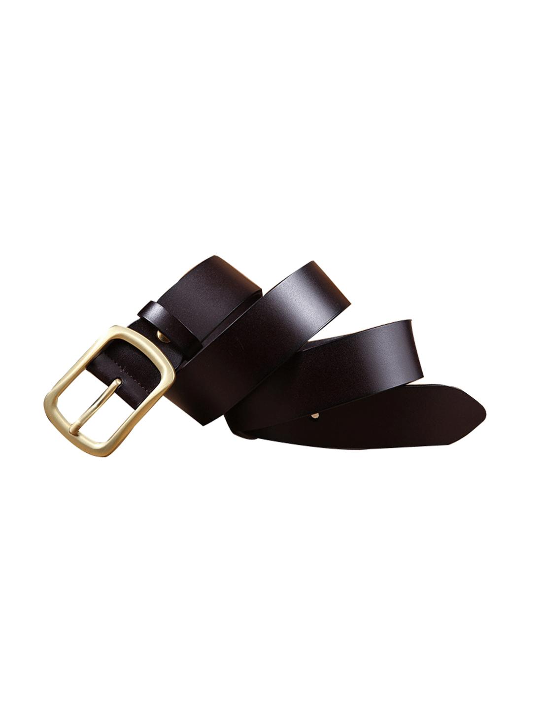 Mens Solid Pin Buckle Dress Leather Belt 38mm Width 1 1/2 Dark Brown 120cm