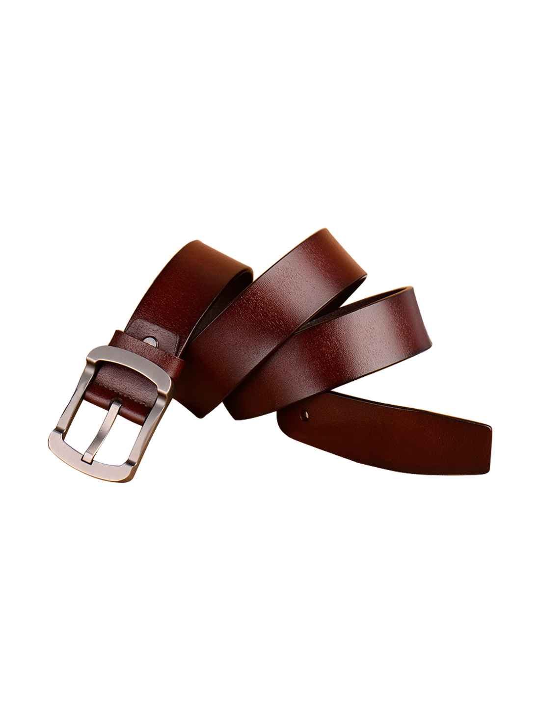 Men Youth Solid Single Pin Buckle Dress Leather Belt 38mm Width 1 1/2 Brown 115cm