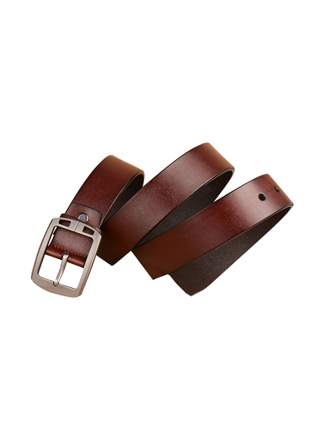 Mens Antique Single Pin Buckle Dress Leather Belt 38mm Width 1 1/2 Brown 125cm