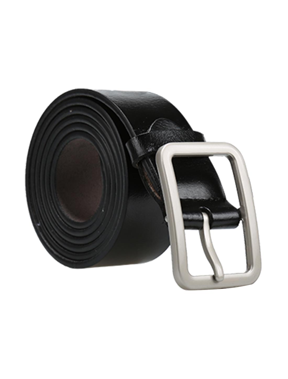 Men Casual Single Pin Buckle Leather Belt 33mm Width 1 1/4 Black 115cm