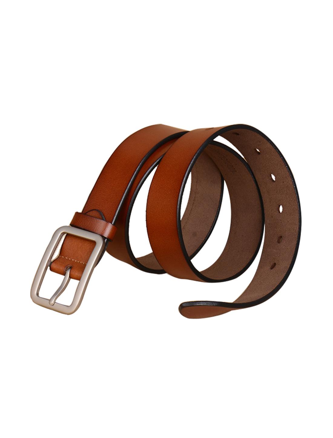Mens Fashion Single Pin Buckle Leather Belt 33mm Width 1 1/4 Brown 120cm