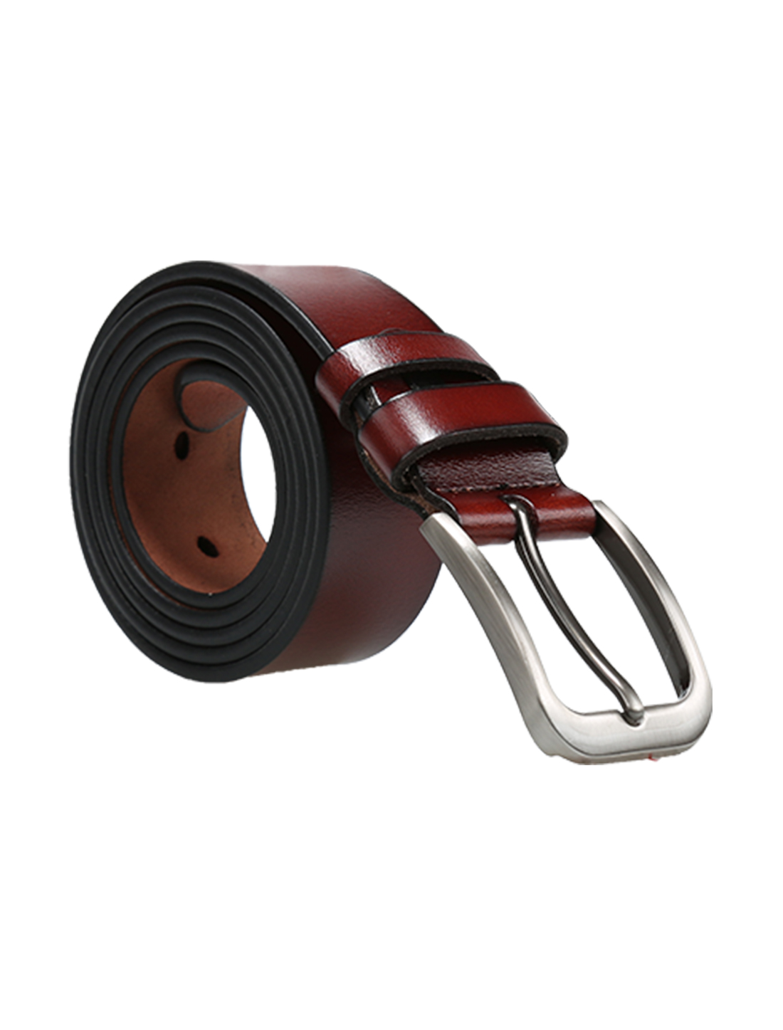 Men Business Fashion Single Pin Buckle Leather Belt 33mm Width 1 1/4 Brown 120cm